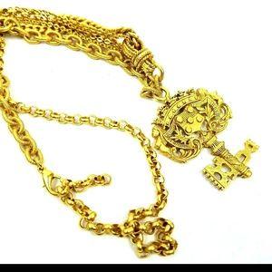 Elizabeth Cole necklace goldplated antiqued key pa